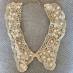 Peter Pan Collar Pearl and Lace Necklace